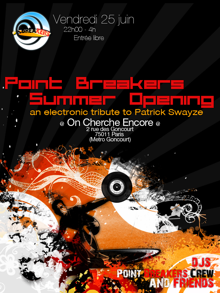 flyer de la soirée Point Breakers Summer Opening @On cherche Encore